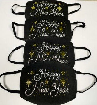 Happy New Year Rhinestone Diamond Mask Collection ( Mask for the entire family)