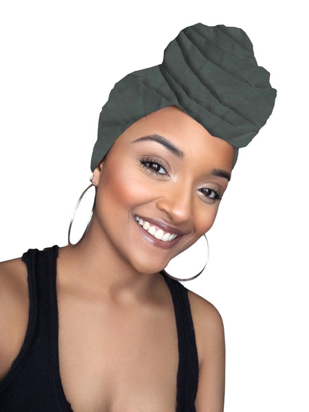 Dark Green Stretched Fabric Head wrap