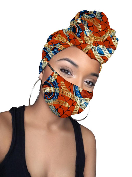 Clara Limited Edition Holiday Gold Print African Headwrap and mask