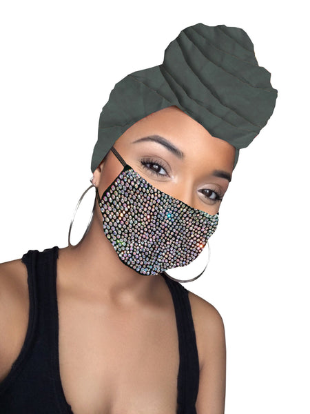 Charcoal diamond Head wrap & mask