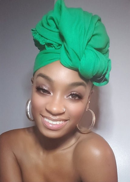 Green Jersey Knit Stretched Fabric Satin Lined Headwrap