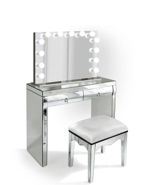Complete set - Mirrored Dimmable Hollywood Makeup Mirror LED + Built-in Outlets, chair and Vanity christmas gift, gift for girlfriend, gift