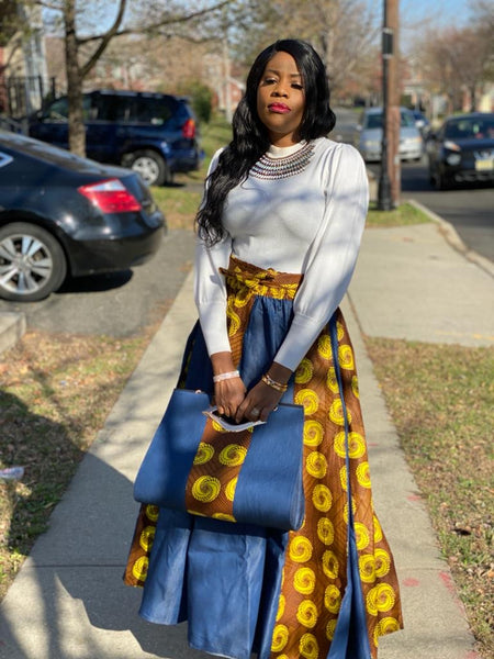 Quinn Print Headwrap, Maxi Skirt & bag set