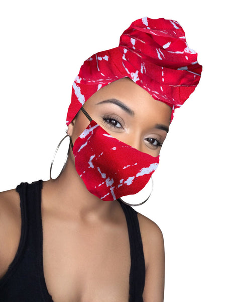 Robin stretched fabrics Headwrap and Face Mask combo