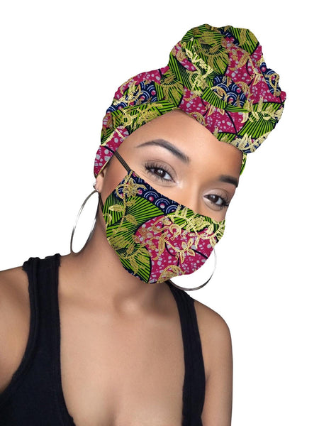 Sylvia Limited Edition Holiday Gold Print African Headwrap and mask