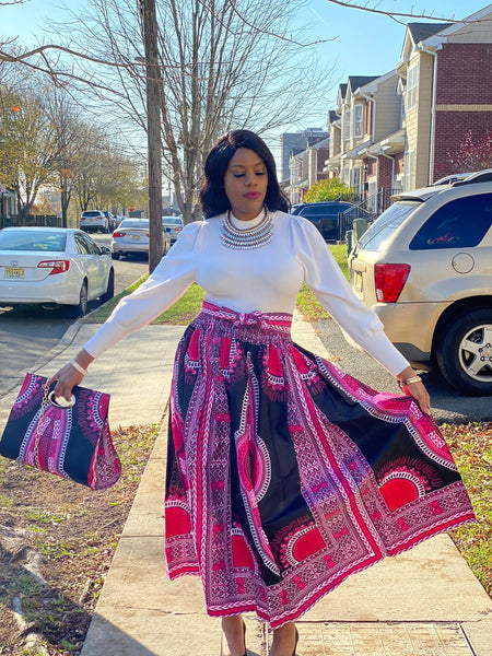 Luna Print Headwrap, Maxi Skirt & bag set