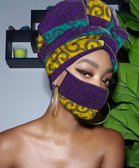 Isabella Slip On Satin Lined Headwrap and Mask