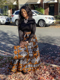 Irma Print Maxi Skirt, Headwrap & bag Set