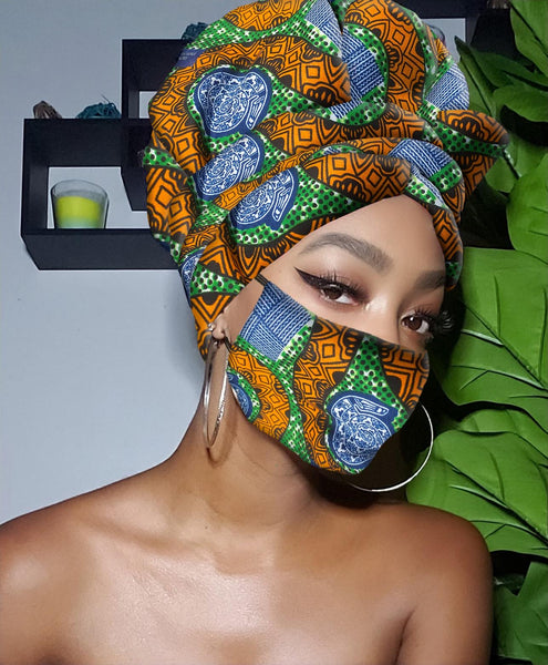 Rene Slip On Satin Lined Headwrap and Mask