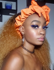 Orange Pre Tie Satin Lined Slip On Headwrap Headband and Mask
