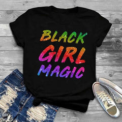 Black Girl Magic Glitter Print T-Shirt