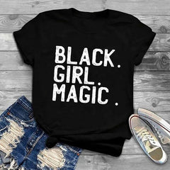 Black Girl Magic White Print T-Shirt