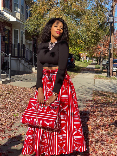 Red and White Print Maxi Skirt, Headwrap, bag and Boss Lady Lipstick Set