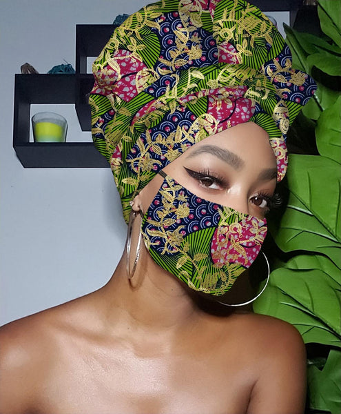 Sylvia Limited Edition Holiday Gold Print Slip On Satin Lined Headwrap and Mask
