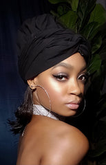 Black Slip On Satin Lined Headwrap and Mask