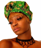 Gia Green Gold Print Slip On Satin Lined Headwrap and Mask