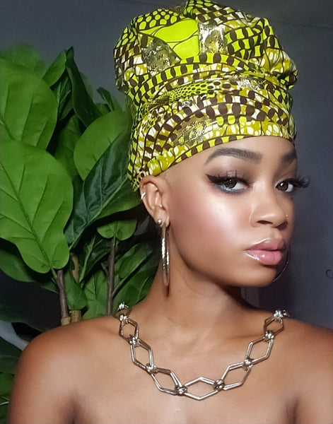 Sky Gye Nyame Gold Print Slip On Satin Lined Headwrap and Mask