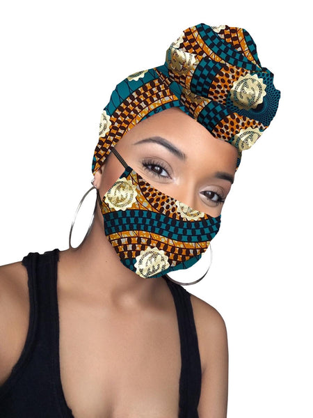 Kai Gye Nyame Cotton Gold Print African Headwrap and mask