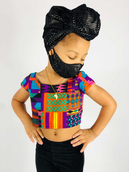 Black and Grey Striped Kid Headwrap ( No Mask)