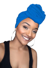 Blue Jersey Knit Stretched Fabric Headwrap