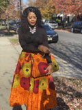Bella Print Maxi Skirt, Headwrap & bag Set