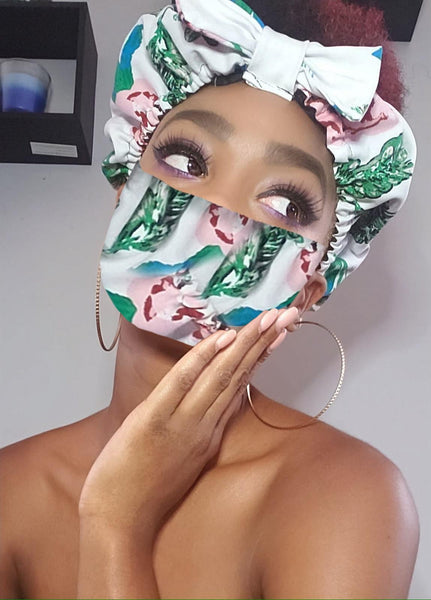 Lyn Pre Tie Satin Lined Slip On Headwrap Headband and Mask