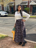 Black and white Maxi Skirt & bag
