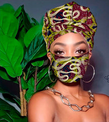 Aissa Slip On Satin Lined Headwrap and Mask