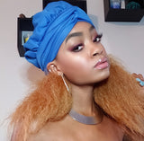Blue Slip On Satin Lined Headwrap and Mask