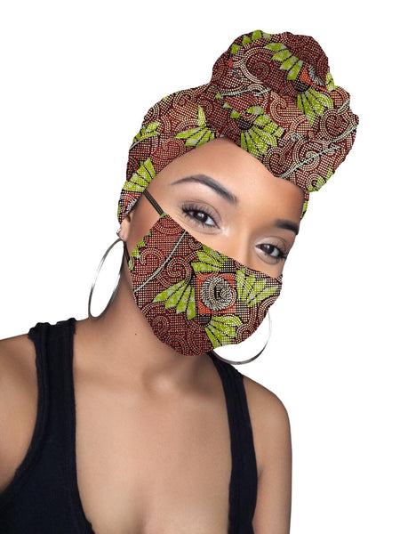 Naya Limited Edition Holiday Gold Print African Headwrap and mask