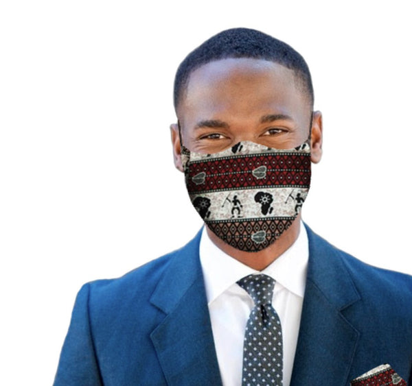 Akwasi Men's Mask & Pocket square Combo