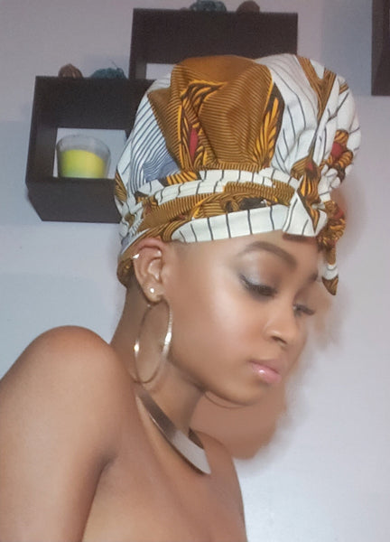 Ami  Slip On Satin Lined Headwrap and Mask