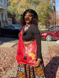 Africa Print Red 100% Leather HandBag