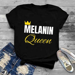 Melanin Queen Yellow and White Print T-Shirt