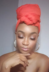 Peach Jersey Knit Stretched Fabric Headwrap