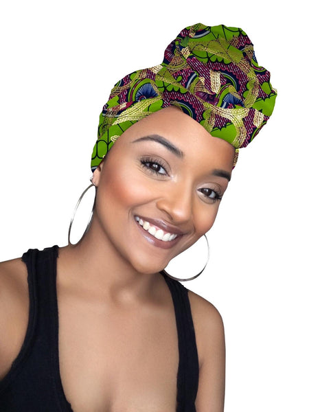 Rhea Limited Edition Holiday Gold Print African Headwrap