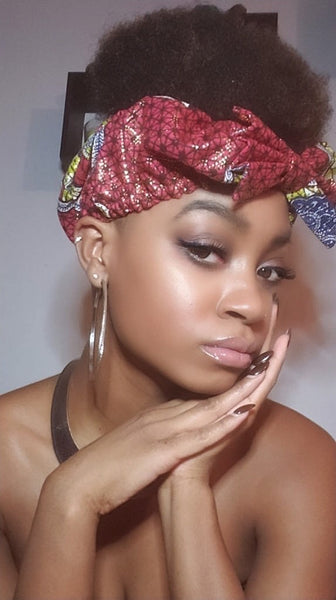 Kwame Pre Tie Satin Lined Slip On Headwrap Headband and Mask