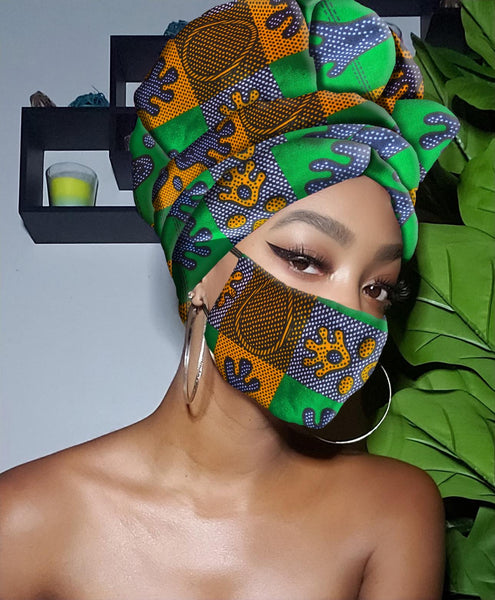 TONI SLIP ON SATIN LINED HEADWRAP AND MASK