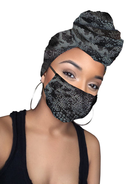 Black Snake  Stretched Fabric Head wrap
