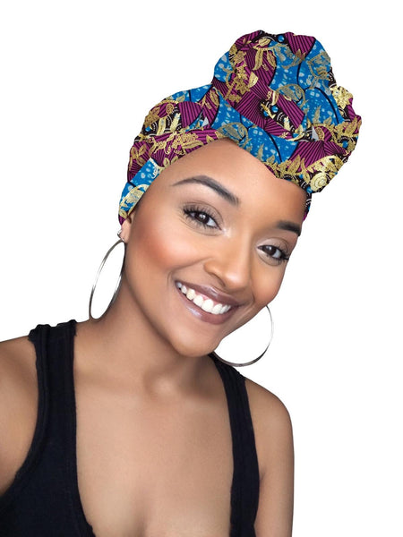 Nora Limited Edition Holiday Gold Print African Headwrap