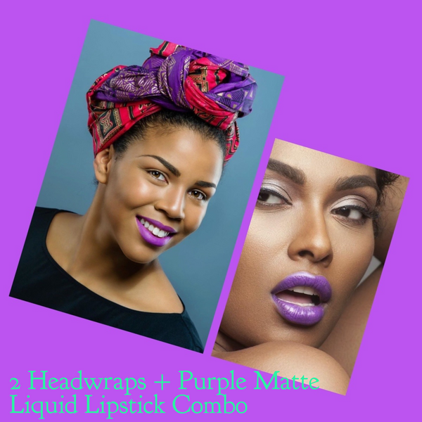Purple & Red Head wrap combo + Purple Celeb Liquid Lip