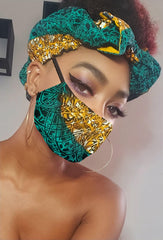Missy Pre Tie Satin Lined Slip On Headwrap Headband and Mask