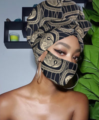 Black and Gold Slip On Satin Lined Headwrap and Mask