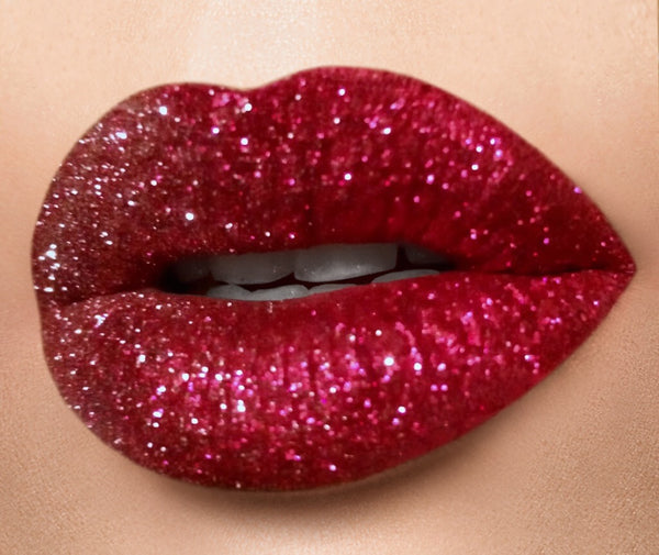COMPLETE BRIGHT RED GLITTER LIP KIT - COMES WITH GLITTER LIP BRUSH, & MAKEUP REMOVER