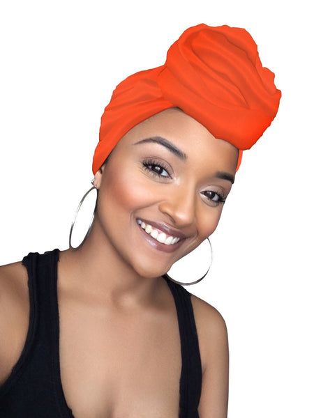 Orange Jersey Knit Stretched Fabric Headwrap