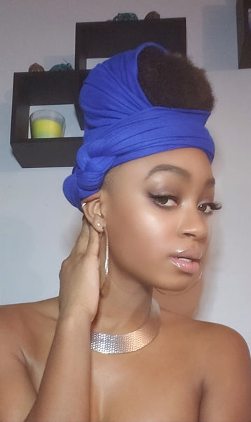 Royal Blue Jersey Knit Stretched Fabric Headwrap