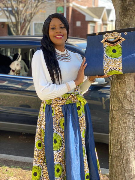 Remy Print Headwrap, Maxi Skirt & bag set