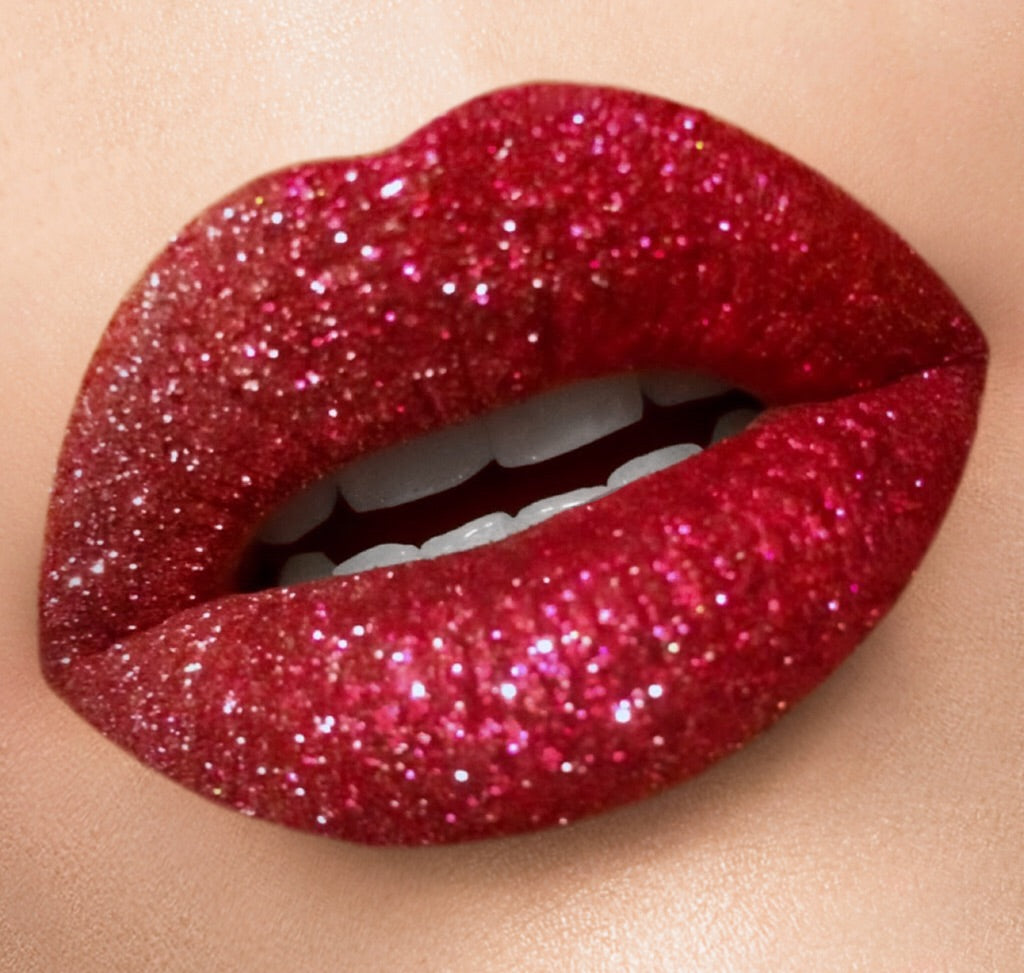 COMPLETE BRIGHT RED GLITTER LIP KIT - COMES WITH GLITTER LIP BRUSH, MAKEUP REMOVER, ...