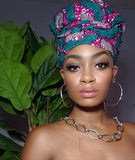 Gigi Gye Nyame Gold Print Slip On Satin Lined Headwrap and Mask
