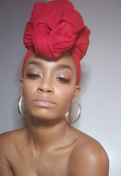 Red Jersey Knit Stretched Fabric Satin Lined Headwrap